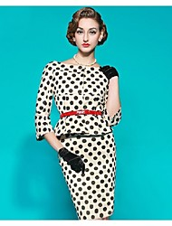 Women's Work / Plus Size Vintage Sheath / Black and White Dress,Polka Dot Boat Neck Knee-length ¾ Sleeve WhiteCotton / Polyester /