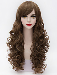 Fabulous Superb Long Curl Wave Wig Mix Coffee and Blonde  Full Bang Synthetic Daily Wig
