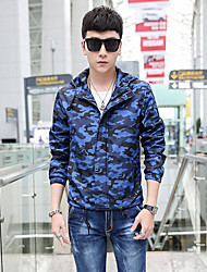 Men's Long Sleeve Casual Jacket,Polyester Print Blue / Gray