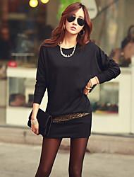 Damen Kleid - Bodycon Übergröße / Leger Solide Mini Baumwolle Rundhalsausschnitt