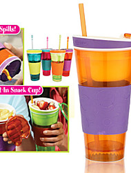 2-in-1 Snack and Drink Cup Kids Travel Snack Drink Cup (Random Color)