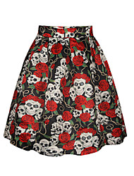 PinkQueen Women's Polyester/Cotton  Skull and Rose Printed  Pleated Skirt