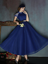 Formal Evening Dress A-line High Neck Ankle-length Charmeuse / Polyester with Beading / Sash / Ribbon / Sequins