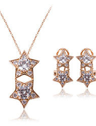 Star Diamond Necklace Earrings Jewelry Set
