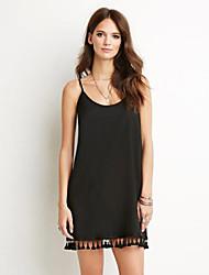 Women's Black Dress , Casual Deep U Sleeveless