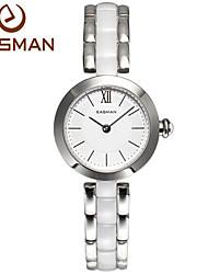EASMAN® Brand White luxury Women Ceramic Watch Ceramic Quartz Watch Noble Casual Wristwatches For Ladies Watches Cool Watches Unique Watches