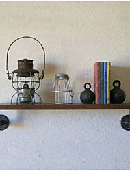 INDUSTRIAL LOFT-STYLE WROUGHT IRON WALL SHELF BATHROOM SHELF VINTAGE WOOD WALL WATER PIPE RACK-Z19
