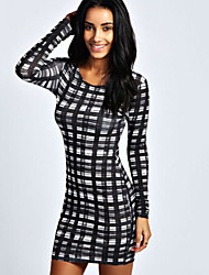 CEN     Women's Plaid Black Dresses , Bodycon / Casual / Party Round Long Sleeve