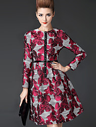 Women's Jacquard Red Dress  Vintage  Work Stand Long Sleeve