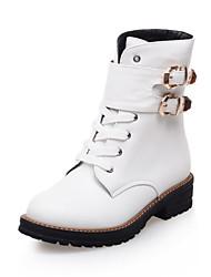 Zapatos de mujer - Tacón Bajo - Punta Redonda - Botas - Vestido - Semicuero - Negro / Blanco