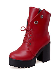 Women's Shoes Chunky Heel Platform / Fashion Boots / Round Toe Boots Dress / Casual Black / Yellow / Red