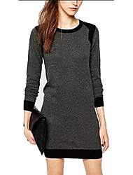 SEXY Women's Patchwork Gray Dresses , Vintage / Sexy / Bodycon / Casual / Work Round Long Sleeve
