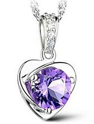Women's Pendant Necklaces Crystal Sterling Silver Fashion Silver Purple Jewelry Wedding Party Daily Casual 1pc