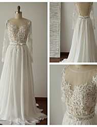 A-line Wedding Dress - Ivory Sweep/Brush Train Scoop Chiffon / Lace