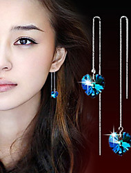 Drop Earrings Crystal Silver Plated Screen Color Jewelry 2pcs