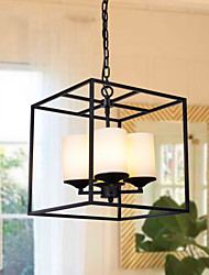Creative American Village Square Glass Dining Minimalist Living Room Cozy Den Wrought Iron Chandelier