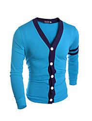 Men's Striped Cardigan,Cotton Long Sleeve