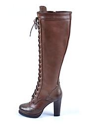 Calçados Femininos - Botas - Anabela / Botas da Moda - Anabela - Preto / Marrom - Couro - Casual