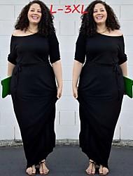 Robes ( Polyester ) Sexy / Informel Rond à Manche mi longue pour Femme
