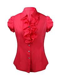 Women's Solid Red / Orange Shirt , Shirt Collar Short Sleeve