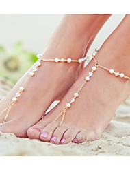 Women's Crystal Pearl Beads Handmade Single Anklets