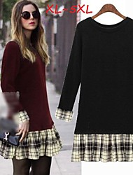 Women's Plaid Red/Black Plus Size Dresses , Casual/Cute Round Long Sleeve