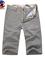 U-Shark Men's Summer Slim Casual&Fashion Grey Solid Color Cotton Shorts Cropped Pants