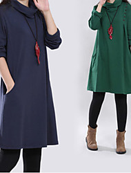 FUK   Women's Solid Color Red / Green Dresses , Casual High-Neck Long Sleeve