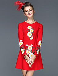 Women's Clothing Autumn Winter Fashion Embroidery Vintage Slim Long Sleeve Party/Casual/Work Dresses Black/Red/Navy