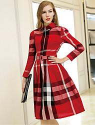 Women's Check  Dress  Vintage Casual Shirt Collar Long Sleeve