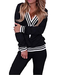 Women's Polyester Black/Grey V Neck Striped Cuffed Pullovers Shirts and Joggers Pants Set