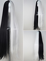 Extra Long Straight Black and White Color Anime Cosplay Full Wig