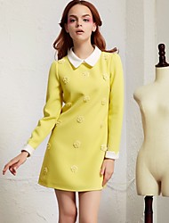Women's Going out Cute Shift Dress,Patchwork Square Neck Mini Long Sleeve White / Yellow Cotton Fall