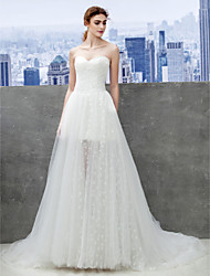Lanting Bride A-line Wedding Dress-Chapel Train Sweetheart Lace / Tulle