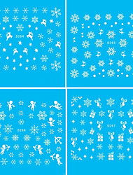 11PCS Water Transfer Printing Christmas Snowflake Series Nail Stickers
