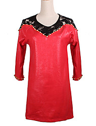 Women's Lace Red Dress , Sexy / Lace Round Neck Long Sleeve