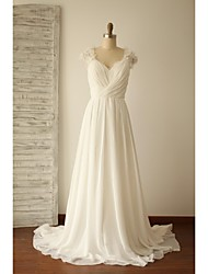 A-line Wedding Dress - Chic & Modern Sweep / Brush Train V-neck Chiffon / Lace with Beading / Criss-Cross