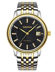 homens guanqin auto-liquidação relógio de diamantes calendário 100m de safira à prova d'água relógio de 40,5 milímetros de aço cristal de