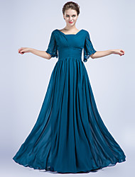 Formal Evening Dress Sheath / Column V-neck Floor-length Chiffon with Beading / Side Draping / Ruching