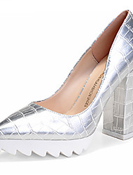 Women's Shoes Chunky Heel Heels/Pointed Toe/Closed Toe Heels Dress Black/Silver