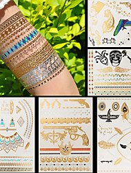 5pcs Body Art Temporary Tattoos Gold Silver Black Flash Metallic Tattoo Sticker Women Jewelry Waterproof Guns Eagles