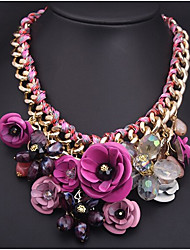 MPL Fashion color flower Gemstone Pendant Necklace woven rope