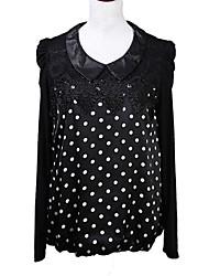 Women's Print / Patchwork Black / Green Blouse , Shirt Collar Long Sleeve