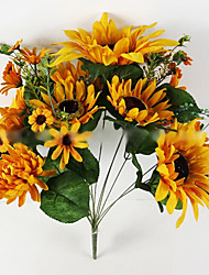 13 Heads of Oil Painting Sunflower in Silk Cloth Artificial Flower for Wedding Decoration (1 Piece)