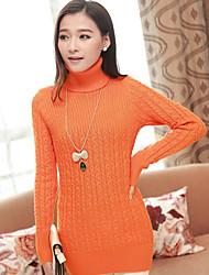 Pullover Aux femmes Manches Longues Décontracté Mélanges de Coton Moyen