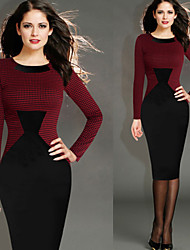 Women's  Dresses , Vintage / Sexy / Beach / Casual / Cute / Party Round Long Sleeve VICONE