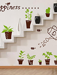 Happiness Kettle Pot Plane Wall Stickers , PVC Removable