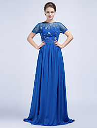 Formal Evening Dress Sheath / Column Jewel Floor-length Chiffon with Beading / Crystal Detailing