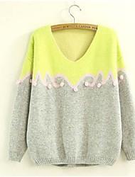 Women's Knitting 3D Flower Print Patchwork Jumper Sweater
