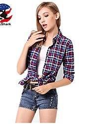 U&Shark New Hot! Women's   British Style Leisure Sanding Plaid Lady Long Sleeve Shirt with Peach Blue Black White Checks